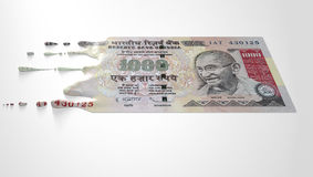 Indian Rupee Melting Dripping Banknote Stock Photo