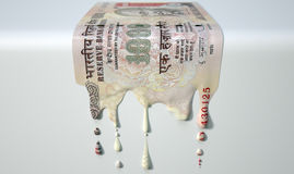 Indian Rupee Melting Dripping Banknote Royalty Free Stock Photo