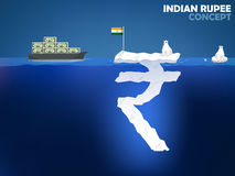 Indian Rupee money value concept design. Graphic design illustration of Indian Rupee symbol as iceberg in the ocean with polar bear,Indian Rupee money value Royalty Free Stock Image