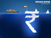 Indian Rupee money value concept design. Graphic design illustration of Indian Rupee symbol as iceberg in the ocean with polar bear,Indian Rupee money value Stock Photography