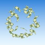 Indian rupee notes falling. Floating INR bills on blue sky background. India money. Captivating vect. Or illustration. Elegant jackpot, wealth or success concept royalty free illustration