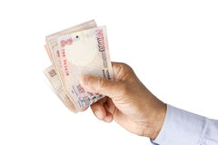 Indian rupee notes in hand in white background Royalty Free Stock Photos