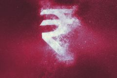 Indian Rupee sign, Indian Rupee symbol. Abstract background. Symbol stock illustration
