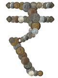 Indian rupee symbol created by arranging coins. Indian rupee symbol created by arranging old, new and antique indian brass, copper, aluminium, silver, and other Stock Images