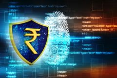 Concept of Indian Rupee Protection. Business Concept. 3d render. Indian Rupee symbol on Golden shield isolated on digital background. 3d illustration Royalty Free Stock Photography