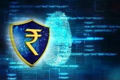 Concept of Indian Rupee Protection. Business Concept. 3d render. Indian Rupee symbol on Golden shield isolated on digital background. 3d illustration Stock Photo