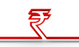 Indian Rupee symbol. Indian Rupee outline symbol on white backdrop. 3D rendering Stock Photos