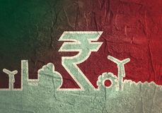 Indian Rupee symbol and industrial icons Stock Photography