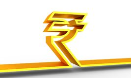 Indian Rupee symbol. Indian Rupee outline symbol on white backdrop. 3D rendering Royalty Free Stock Photography