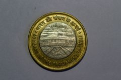 Indian 10 rupees coin 60 years of the parliament of India stock photos