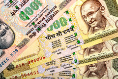 Indian rupees currency notes isolated. Indian rupees currency notes mixed isolated Stock Photography