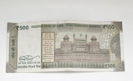 Indian Rupees five hundred backside. Indian money Rupees five hundred value currency on white backround Royalty Free Stock Image