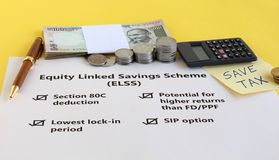Indian Rupees Investment in Equity Linked Savings Scheme for Tax Savings Concept stock photos