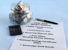 Indian Rupees Investment in Low Risk Choices royalty free stock photo