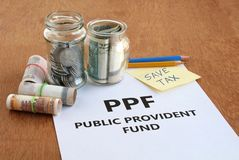 Indian Rupees Investment in Public Provident Fund PPF royalty free stock image