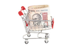 Indian 1000 rupees in shopping cart Stock Photo