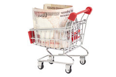 Indian 1000 rupees in shopping cart Stock Photos