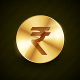Indian ruppe gold coin with shiny effects Stock Image