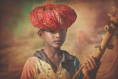 Young Indian camel boy, Thar Desert, Rajasthan. Stock Photo
