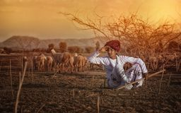 Rural Boy. Indian Rural Boy in traditional casual Royalty Free Stock Photos