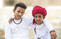 Rural Boys. Indian Rural friendship in traditional casual Stock Photo
