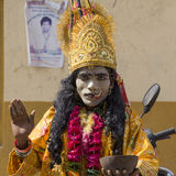 Indian sadhu in mythological clothing blesses the people on the street. Pushkar , India Stock Photos