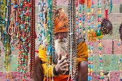 Indian Sadhu prepares dough for chapati Stock Photography