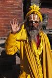 Indian sadhu welcomes Royalty Free Stock Photo