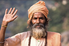 Indian sadhu welcomes Stock Photography