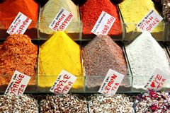 Indian saffron. And colorful spices on display at the spice market Stock Images
