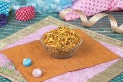 Mix Namkeen Food. Indian Salty and spicy food Mix Namkeen stock photo