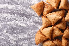 Indian samosa pastry on a floured table. horizontal top view Stock Images