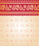 Indian saree design with flowers and elephants Royalty Free Stock Image