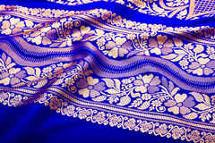 Indian sari with pleats close up Stock Image