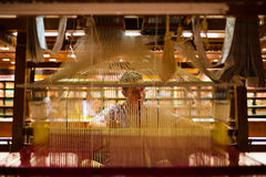Indian Sari Weaver Hand Loom Inside Royalty Free Stock Photos