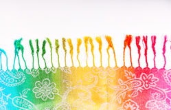 Indian scarf rainbow colors with brushes on a white background Stock Images