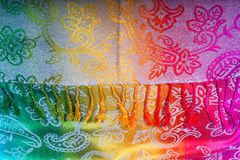 Indian scarf rainbow colors with brushes on a white background Royalty Free Stock Photography