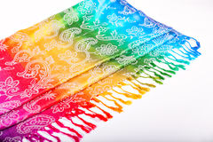 Indian scarf rainbow colors with brushes on a white background Royalty Free Stock Images