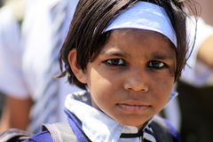 Indian school boy. With makeup on the street in Udaipur Royalty Free Stock Images