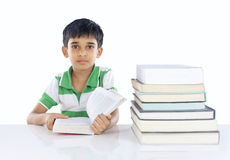 Indian School Boy. Posing to Camera with Book Stock Image