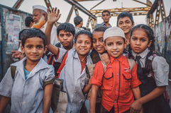 Indian school boys and girls Stock Photo