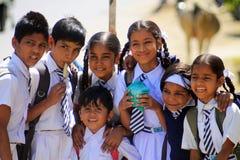 Indian school children. Group of indian school children on the street in Udaipr Stock Photo