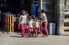 Indian school children in uniform go to excursion Stock Images