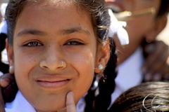 Indian school girl. On the street in Udaipr Stock Photography