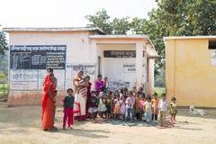 Indian school in village. Banhavgarh, India - 30 December 2014; Small Indian village school in Bandhavgarh Stock Photo
