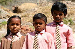 Indian schoolchildren. Posing for a photo, village in Rajasthan, India Royalty Free Stock Image
