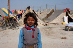 Indian schoolgirl in the camp Stock Image