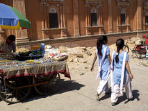 Indian schoolgirls in the street. Stock Photo