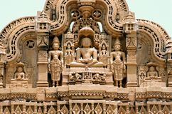 Indian Sculpture. Sculpture at a temple in Jaisalmer in India Stock Photos