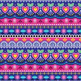 Indian seamless vector pattern, Pakistani truck art design, navy blue and pink ornament with flowers and abstract shapes. Colorful repetitive Diwali background Stock Illustration